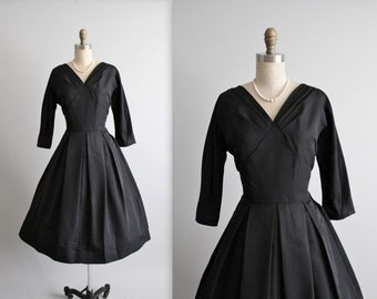 STOREWIDE SALE 50's Cocktail Dress // Vintage 1950's Classic Black Rayon Faille Full Cocktail Party Evening Dress M