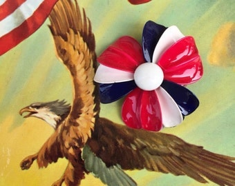 Red White and Blue Enamel Flower Pin