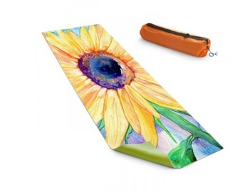 Yoga Mat Sunflower Floral Watercolor Painting - Exercise Mat