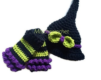 Newborn halloween costume, witch hat, crochet witch hat, halloween hat, newborn photo prop, crochet witch hat, baby witch hat, leg warmers