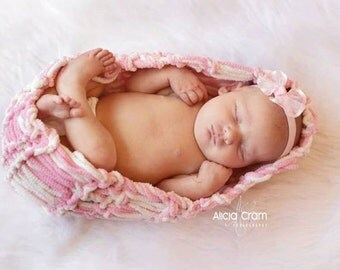 Baby Cocoon Baby Girl Photo Prop Newborn Baby Wrap Girl Prop Newborn Cocoon (Pink and Ivory Off White FAUX Cocoon)