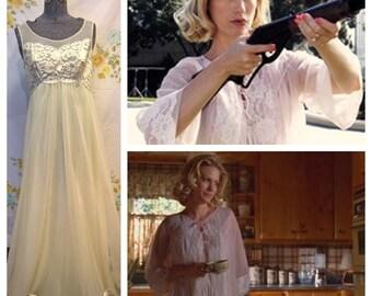 Betty Draper Pale Yellow 60's Nightgown Peignoir Pajama Set