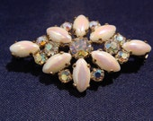 Aurora Borealis and Faux Opal Brooch, Marked West Germany