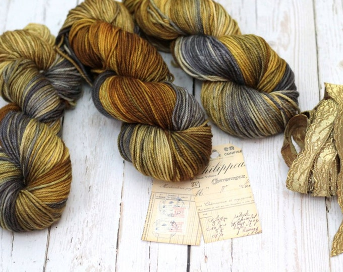 """Hand dyed Yarn SW Merino Cashmere Nylon """"Ivy"""" DK Weight  Swoon Fibers """"Antique Gold"""""""