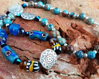 Turquoise Southwestern Tribal Jasper Necklace with Vintage African Krobo Trade Beads