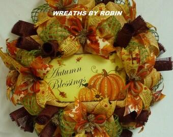 Autumn Blessing, Autumn Wreaths, Fall Wreaths, Deco Mesh Wreaths - Item 2441