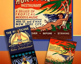 Hurricane Tropical Wall Art Print Mature Matchbook Topless Girls Beach Decor Tropical Home Decor Island Beach Print Tahiti Beach Wall Art