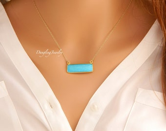 Gold Turquoise Necklace, Bohemian Bar Necklace, Horizontal Rectangle Gemstone Necklace, Gold Crystal Necklace, Daughter, Mother's Gift