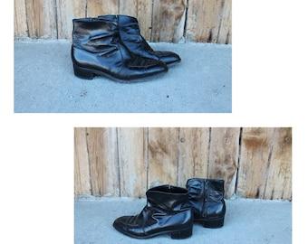 Florsheim Black Leather Boots Mens 8 D