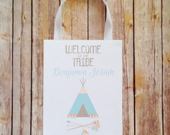 tribal baby shower door sign, custom teepee baby shower party sign, personalized tribal arrow welcome sign