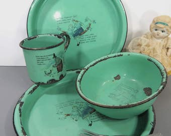 Vintage  Child's Green Enamelware 4 Piece Dish Set, 2 Plates, Cup, Bowl, Nursery Rhyme, Made in Germany