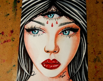 ORIGINAL Pigment Marker Drawing  -5.75 x 8  inches All Seeing Eye Lowbrow Girl Portrait Third Eye