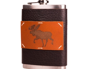 Midnight Espresso 8 oz Leather + Stainless Steel Flask with Moose (F8-33)