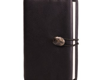 "Kodiak Black Leather Journal with Dragon Blood Jasper 4"" x 6"" (JS-43)"