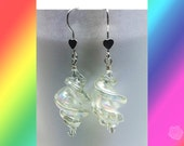 Hook Earrings 2 inch Long Lampwork Clear AB Swirls Clear 4mm Swarovski Clear Crystal Bicones on Ends Sterling Silver Heart Front Ear Wires