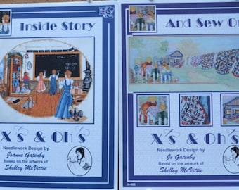 Inside Story + And Sew On –by Joanne Gatenby - X's & Oh's  #K650, #K460 – 2 Cross Stitch Charts
