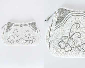 Vintage 30s Purse / 1930s White and Silver Floral Micro Bead Dance Clutch