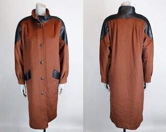 SALE / Vintage 70s Coat / 1970s Avant Garde Rust Wool Funnel Neck Coat with Black Leather Trim M L