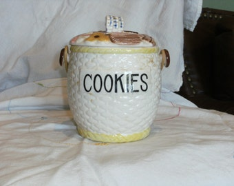 Vintage Biscuit Jar with handle MADE IN JAPAN