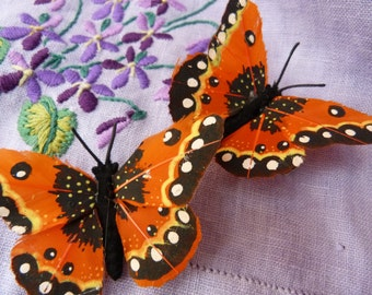 Orange feather butterfly hairclips