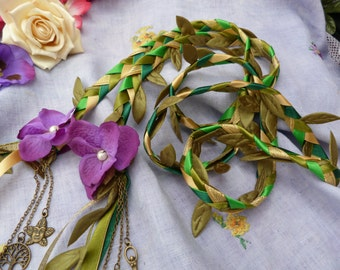 Woodland wedding - Handfasting cord- green, purple, hand stitched flowers and charms