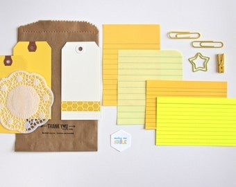 Scrapbooking Listing Planner . Tag + Embellishment Kit Collection . Yellow Set 1 . Mixed Media Mini Album Travelers Notebook Listers List