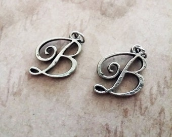 B Charm Script Letter B Charms Antiqued Silver 2 pieces Alphabet Initial LetterJewelry Supply Finding Bee with Jump rings