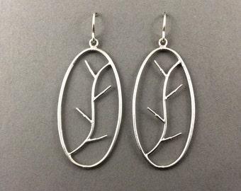 Tree Earrings Silver