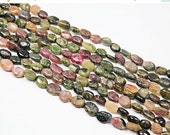VALENTINE SALE 55% 13 Inches, 8-13mm, Natural Watermelon Tourmaline Smooth Polished Oval Beads, SKU1753/D