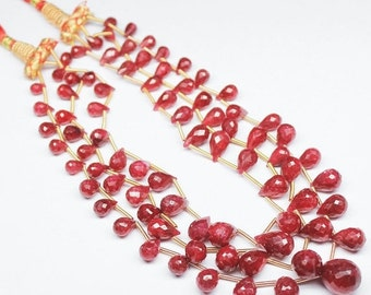 VALENTINE SALE 55% Wholesale Bunch Red Ruby Faceted Tear Drop Briolette Beads 5 strand Necklace, Total 53 inches, 7-14mm, SKU5592A