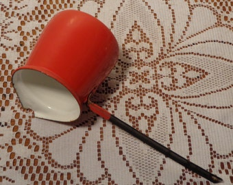 Vintage Red Enamel Dipper -  Enamel Ladle or Butter dipper  -  15-665
