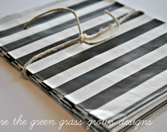 Black and White Paper Party Bags Horizontal Stripes