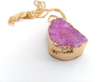 Natural Raw Pink Druzy Quartz Gemstone Gold Plated  Necklace