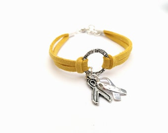 Yellow Charity Ribbon Bracelet, Spina Bidifa, Endometriosis, Bone Cancer
