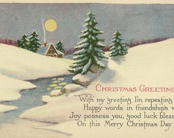 Snow Bound Cabin Under Full Moon – Frosty Vintage Christmas Postcard With Friendship Greeting