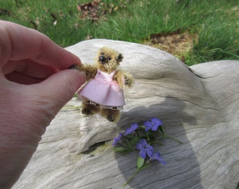 "Emma,   2.25""  Miniature Mohair Jointed OOAK Artist Teddy Bear Cub"