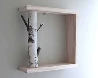 white birch forest wall art/shelf - 12x12, birch branch, framed birch art, floating shelves, display shelves, shadow box