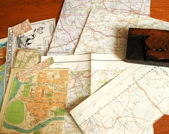 VINTAGE MAP pack  - sections of original maps and map illustrations - Plundered Places
