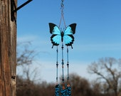 Special order priority shipping blue swallowtail butterfly ulysses swallowtail blue butterfly wind chime stained glass brockus creations