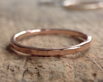 Rose Gold Ring Band, Stacking Ring, Skinny Ring, Stackable Rings, 14K Rose Gold Filled Ring, Textured Ring, Bohemian Ring, Bohemian Jewelry
