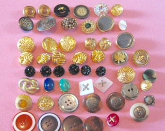 BUTTONS 50 Vintage Sewing Crafting Buttons - Metal Plastic Shank Sew Through Snap