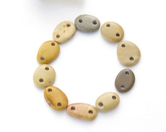 Double Drilled Medium Beach Stone Connectors, Jewelry Supplies, Organic Natural Beads, Beach Stone Buttons