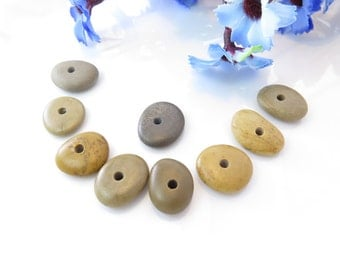 Center Drilled Beach Stones Roundish Shape for Jewelry Necklace Bracelet 9 pcs, River Stones, Beach pebbles