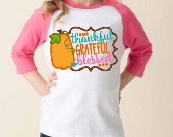 "Girls ""Thankful, Grateful, & Blessed"" Hot Pink Sleeve Raglan Baseball Tee, Baby Onesie, or T-Shirt - Fall Time Thanksgiving Shirt"
