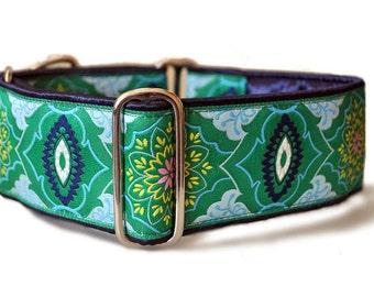 Martingale Collar or Buckle Dog Collar - Kaleidoscope Jacquard in Green - 2 Inch, Greyhound Collar, Great Dane Collar, Custom Dog Collar