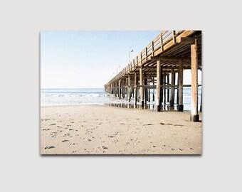 Canvas Gallery Wrap, Wall Art, Ventura Pier, Beach Decor, Large Beach Art, Pier Photograph, Canvas Art, Coastal Blue, Beige, Ocean Art
