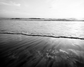 "Black And White Ocean Art, Beach Photography, Beach House, Bold, Simple, Shoreline, Seascape, Coastal, Wave photograph,  ""The Tides"""