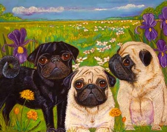 Pug art pugs Black pug fawn pug painting art painting whimsy ORIGINAL Dog Art pugs whimsical 13 x 19