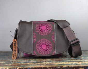 Medium - Leather Camera Bag New Satchel  -  Purple Flower Chocolate  Leather DSLR - PRE-ORDER