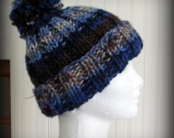 Knit hat - hand knit hat - blue hat - blue pom pom hat - blue beanie - blue knit hat - blue hand knit hat - brown knit hat - brown hat